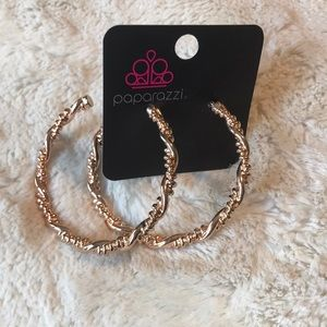 Paparazzi twisted rose gold hoop earrings